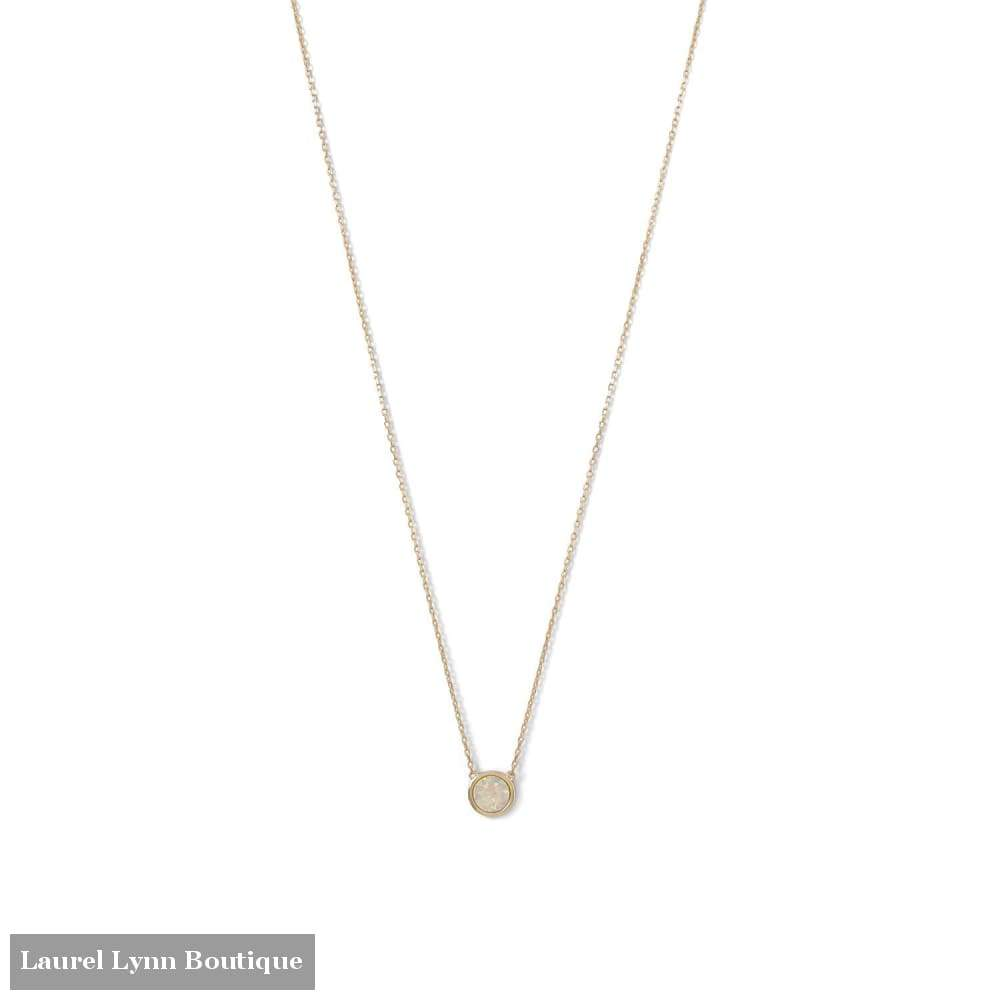 14 Karat Gold Plated Mini Synthetic White Opal Necklace - Laurel Lynn Collection - Blairs Jewelry & Gifts