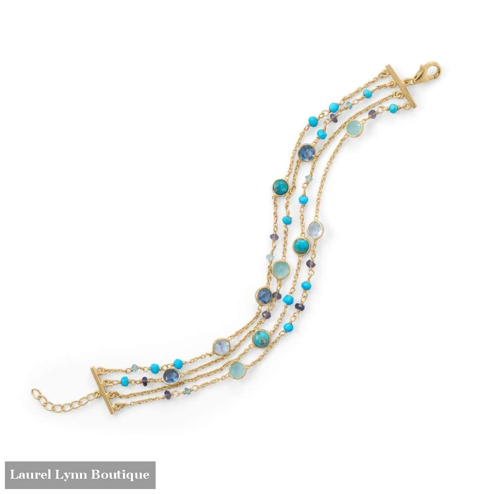 14 Karat Gold Plated Multi Stone Bracelet - Laurel Lynn Collection - Blairs Jewelry & Gifts