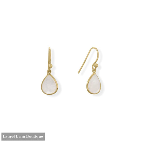 14 Karat Gold Plated Pear Rainbow Moonstone Earrings - 66550 - Liliana Skye