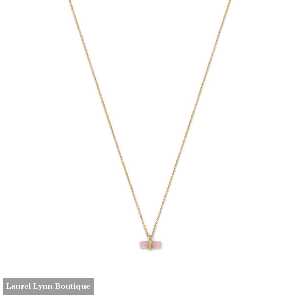 14 Karat Gold Plated Pencil Cut Rose Quartz Necklace - Laurel Lynn Collection - Blairs Jewelry & Gifts