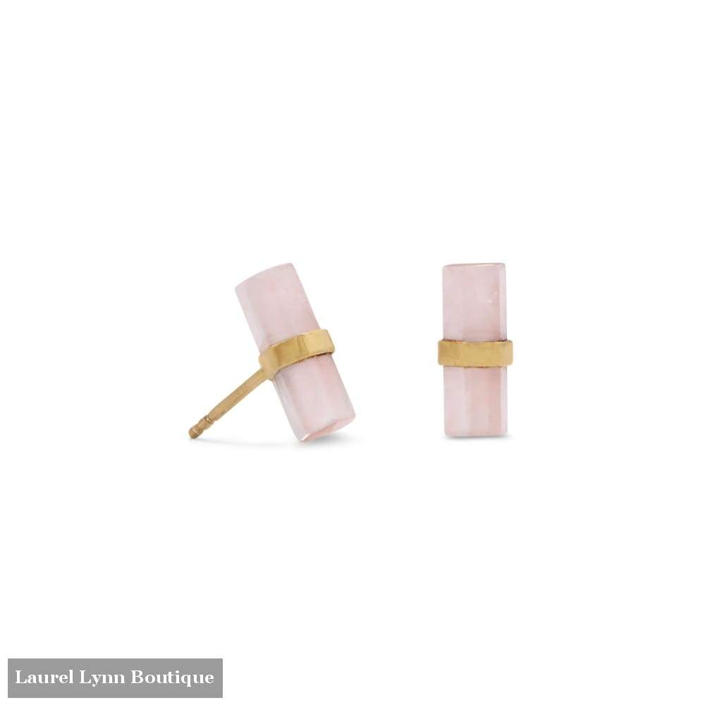 14 Karat Gold Plated Pencil Cut Rose Quartz Studs - 66288 - Laurel Lynn Collection - Blairs Jewelry & Gifts