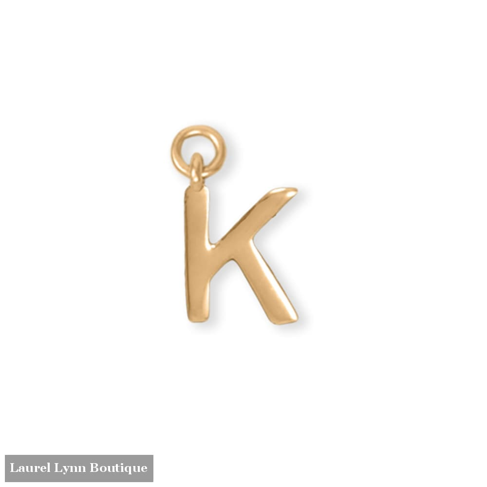 14 Karat Gold Plated Polished K Charm - 74684K - Liliana Skye