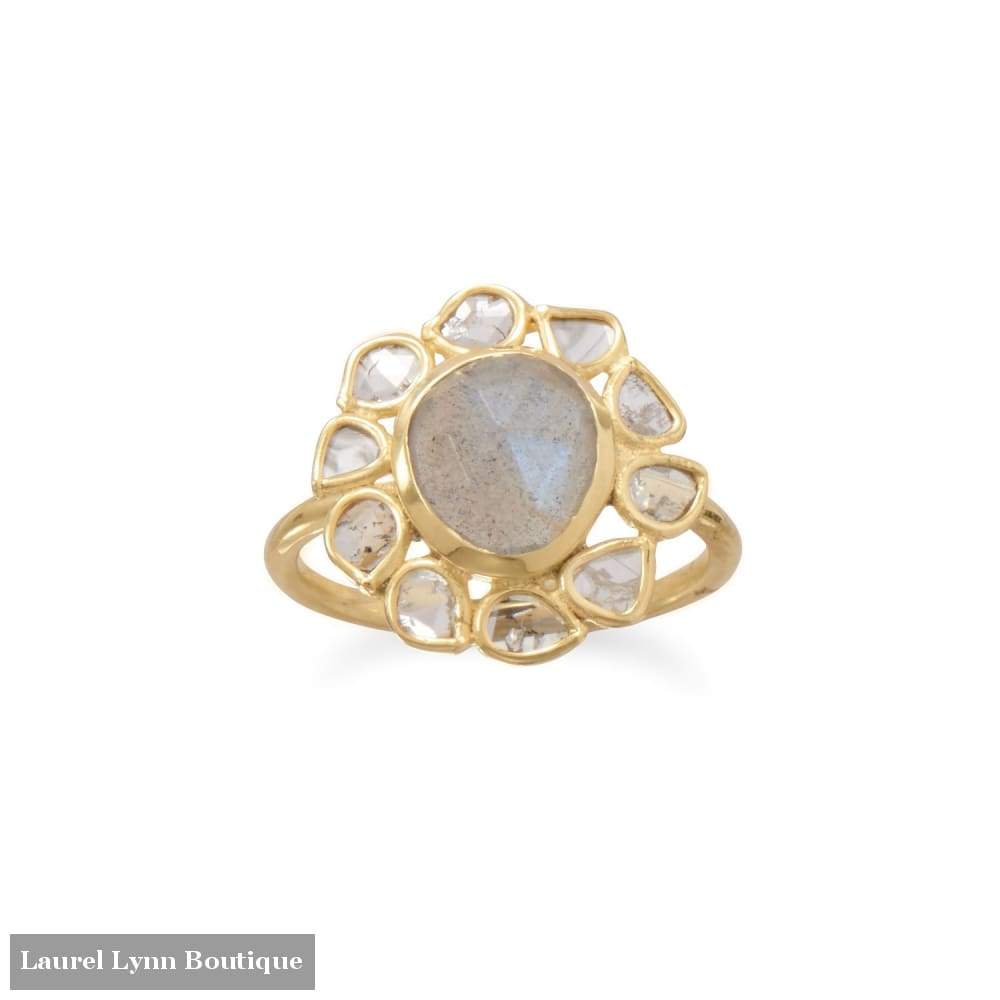 14 Karat Gold Plated Polki Diamond And Labradorite Ring - Laurel Lynn Collection - Blairs Jewelry & Gifts