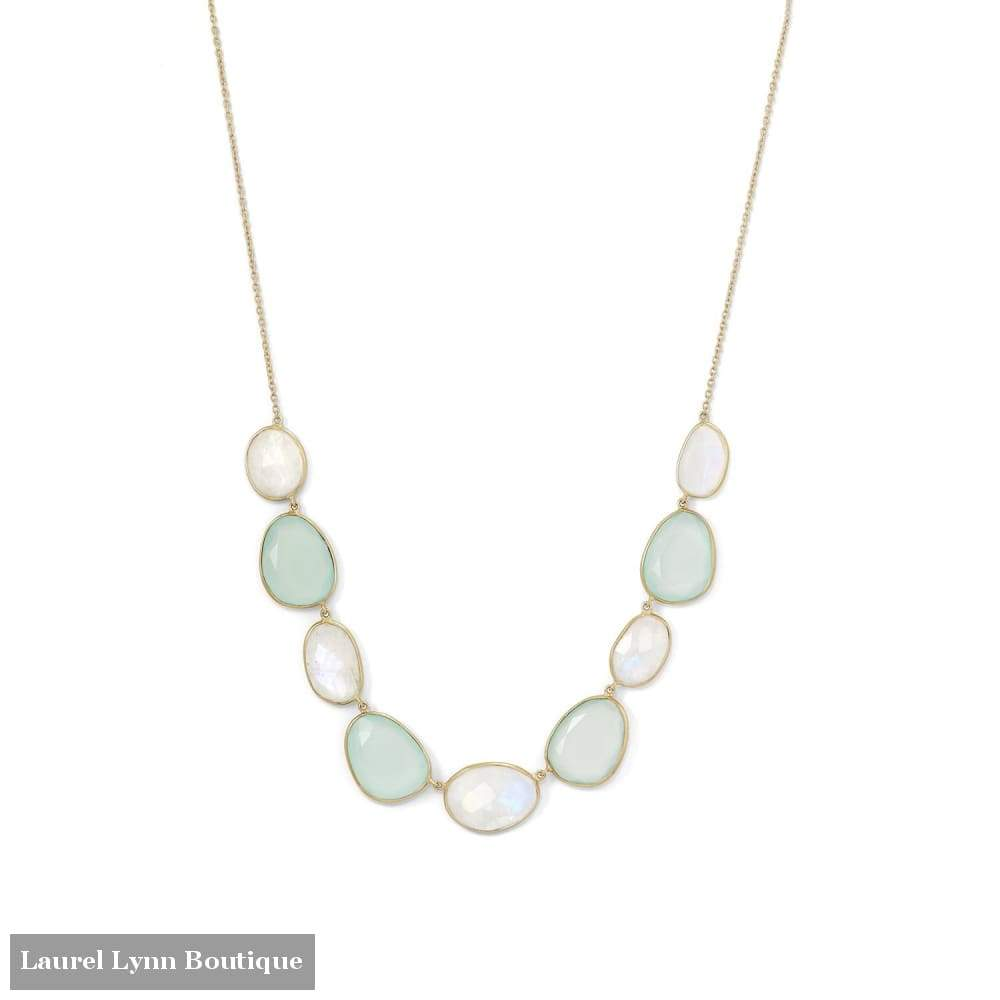 14 Karat Gold Plated Rainbow Moonstone And Green Chalcedony Necklace - Laurel Lynn Collection - Blairs Jewelry & Gifts