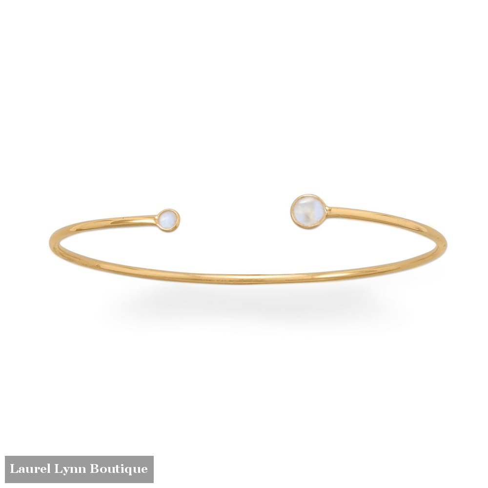 14 Karat Gold Plated Rainbow Moonstone Open Cuff Bracelet - 23578 - Liliana Skye