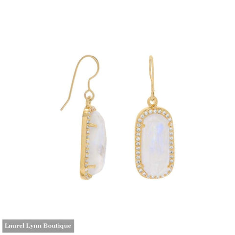14 Karat Gold Plated Rainbow Moonstone With Cz Edge Earrings - Laurel Lynn Collection - Blairs Jewelry & Gifts
