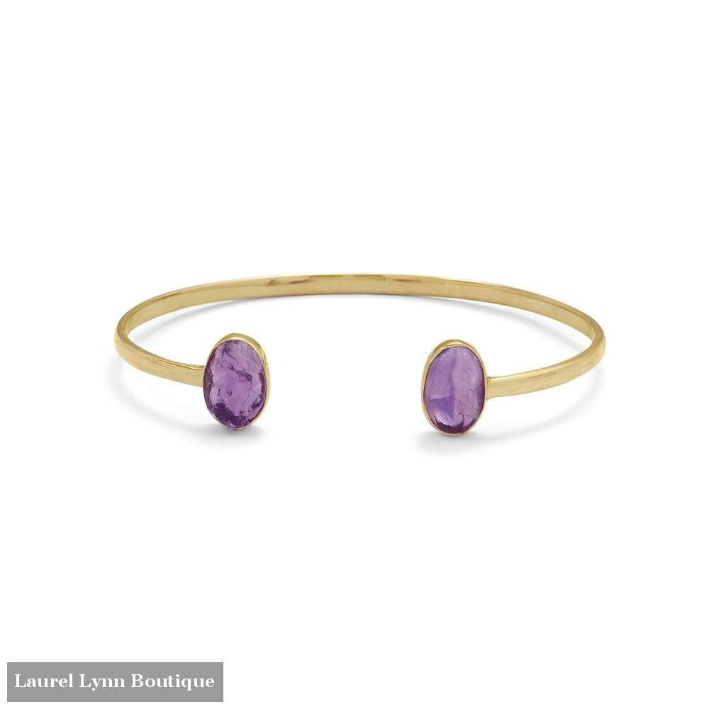 14 Karat Gold Plated Rough Cut Amethyst Split Bangle - Laurel Lynn Collection - Blairs Jewelry & Gifts