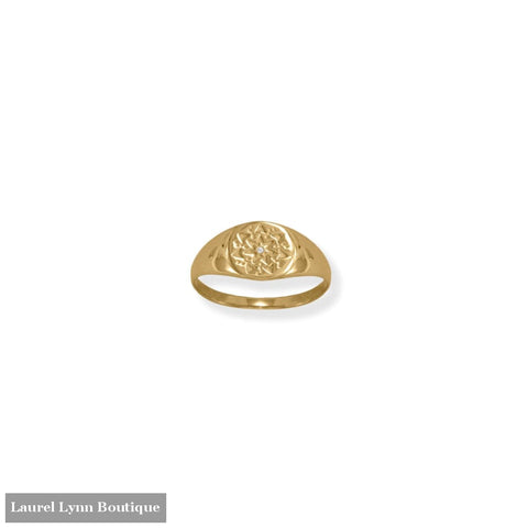 14 Karat Gold Plated Round CZ Star Ring - 83881-9 - Liliana Skye