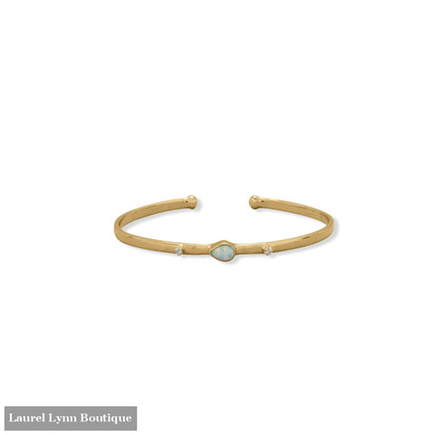 14 Karat Gold Plated Synthetic Opal and CZ Cuff Bracelet - 23615 - Liliana Skye