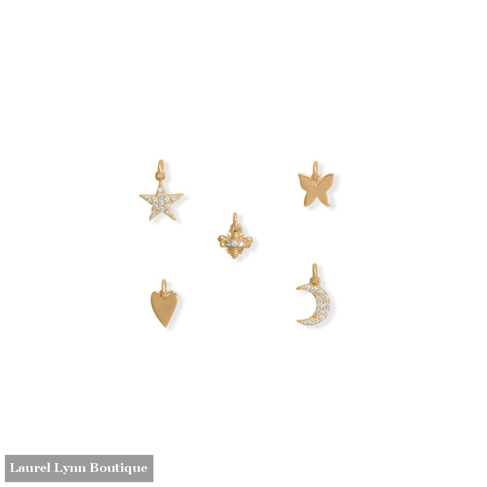 14 Karat Gold Plated Trendy Charm Set - 74685 - Liliana Skye