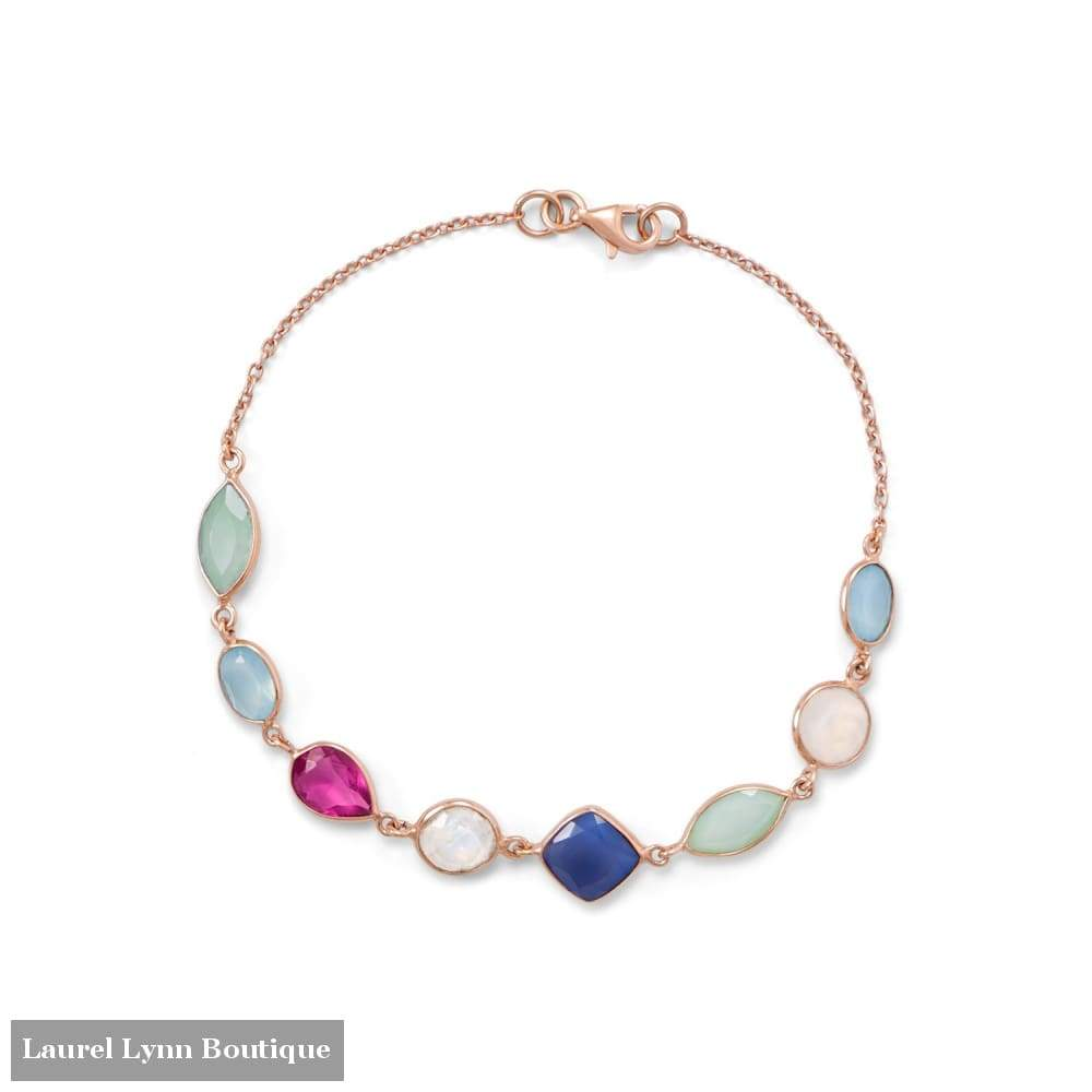 14 Karat Rose Gold Plated Multi Gemstone Bracelet - Laurel Lynn Collection - Blairs Jewelry & Gifts