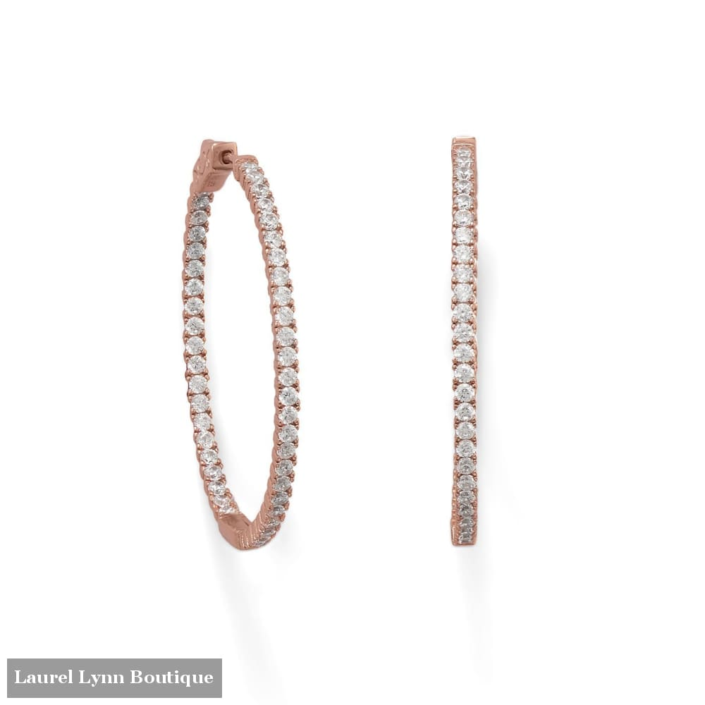 14 Karat Rose Gold Plated Oval In/Out CZ Hoop Earrings - 66444 - Liliana Skye