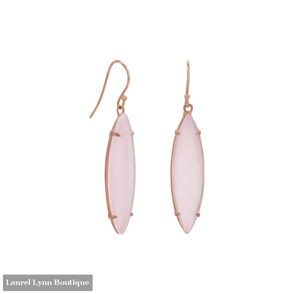 14 Karat Rose Gold Plated Pink Glass Marquise Earrings - 66287 - Laurel Lynn Collection - Blairs Jewelry & Gifts
