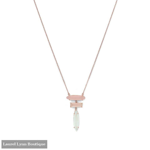 14 Karat Rose Gold Plated Prong Set Multi Gemstone Drop Necklace - Laurel Lynn Collection - Blairs Jewelry & Gifts