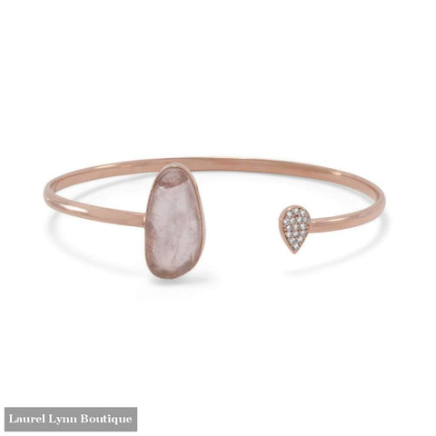 14 Karat Rose Gold Plated Rose Quartz And Cz Open Cuff Bracelet - Laurel Lynn Collection - Blairs Jewelry & Gifts