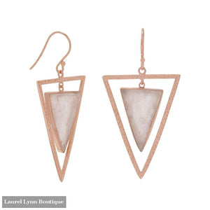 14 Karat Rose Gold Plated Rose Quartz Triangle Earrings - Laurel Lynn Collection - Blairs Jewelry & Gifts