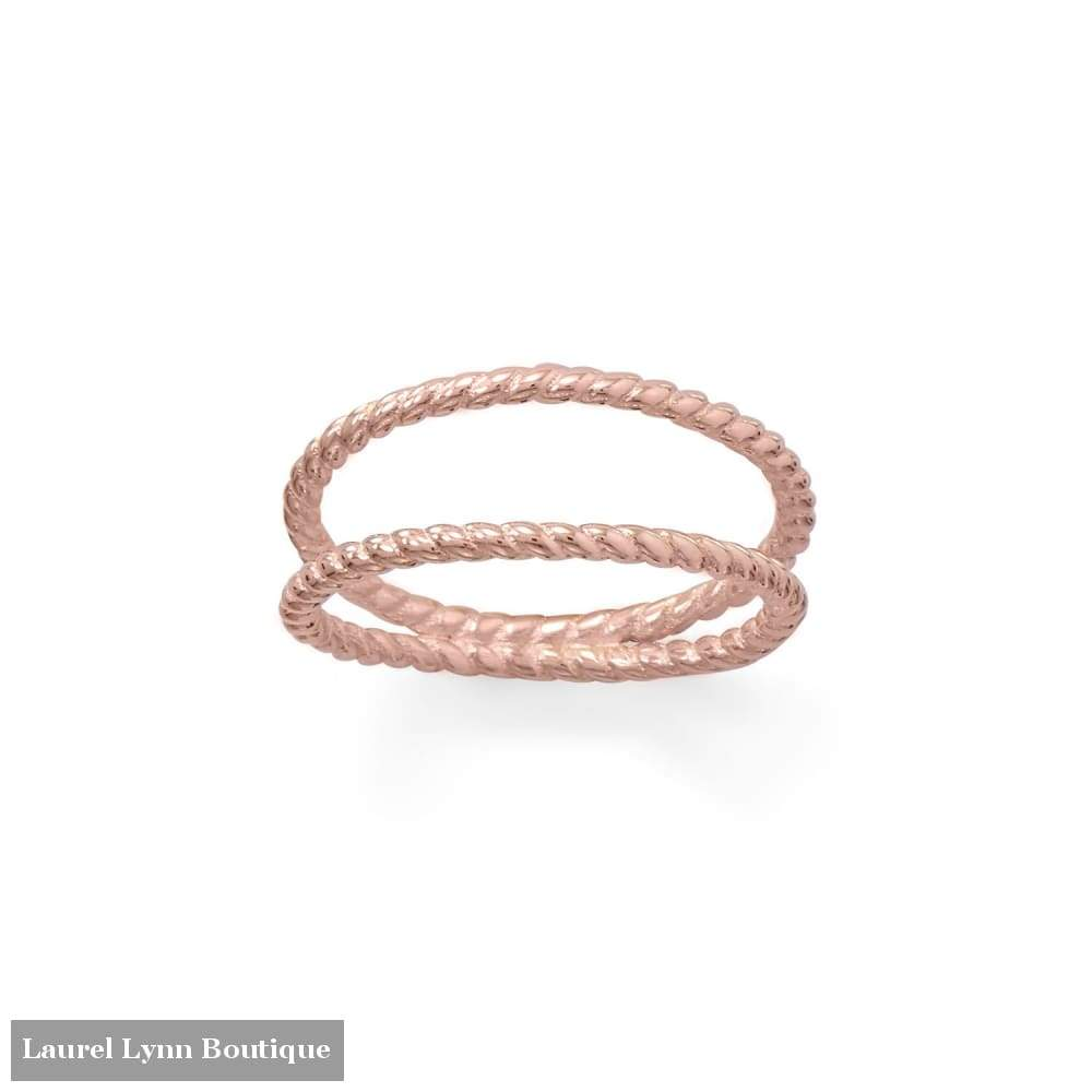 14 Karat Rose Gold Plated Rope Twist Double Band Ring - Laurel Lynn Collection - Blairs Jewelry & Gifts