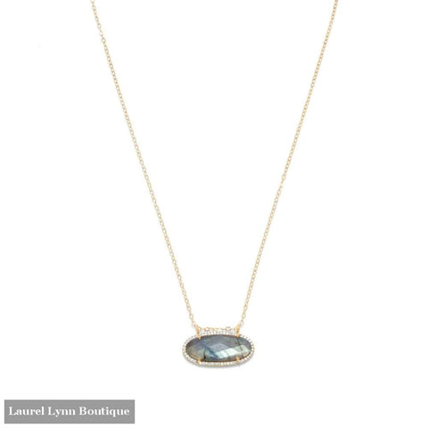 14/20 Gold Filled Labradorite Ellipse And Cz Edge Slide Necklace - Laurel Lynn Collection - Blairs Jewelry & Gifts