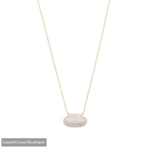 14/20 Gold Filled Rainbow Moonstone Ellipse With Cz Edge Slide Necklace - Laurel Lynn Collection - Blairs Jewelry & Gifts