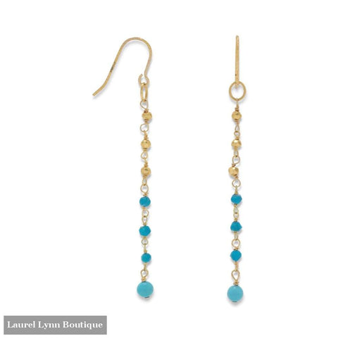 14K Gold Plated French Wire Earrings With Reconstituted Turquoise Beads - Laurel Lynn Collection - Blairs Jewelry & Gifts