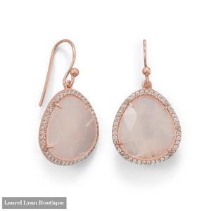 14K Rose Gold Plated Rose Quartz and CZ Earrings - 66415 - Liliana Skye