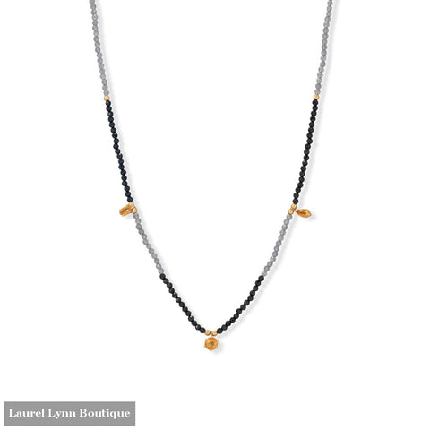 15 + 2 Citrine Black Spinel and Labradorite Necklace - 34390 - Liliana Skye