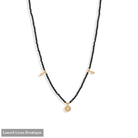 16 + 2 14 Karat Gold Plated Charm and Black Spinel Necklace - 34389 - Liliana Skye