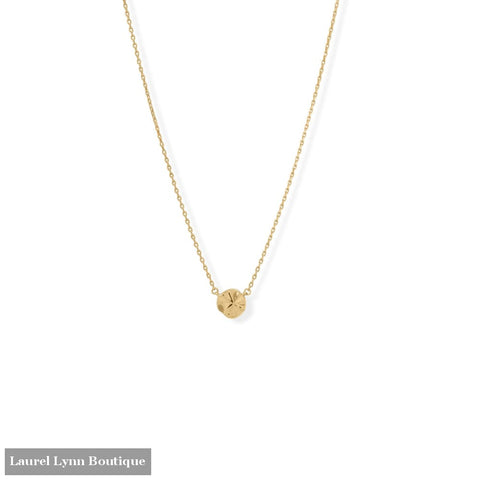 16 + 2 14 Karat Gold Plated Wavy Disc Necklace - 34359 - Liliana Skye