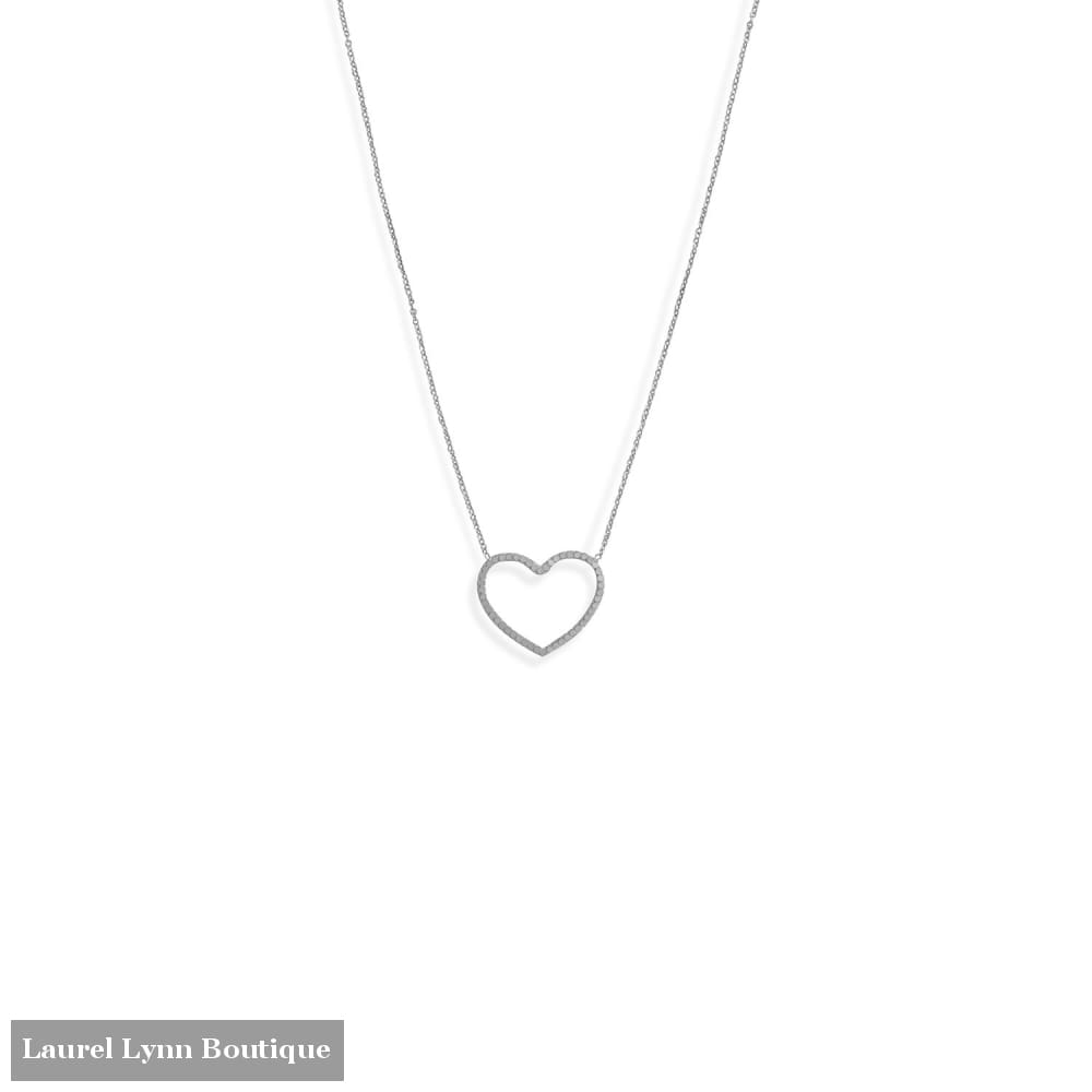 16 + 2 Rhodium Plated Diamond Cut Heart Outline Necklace - 34377 - Liliana Skye