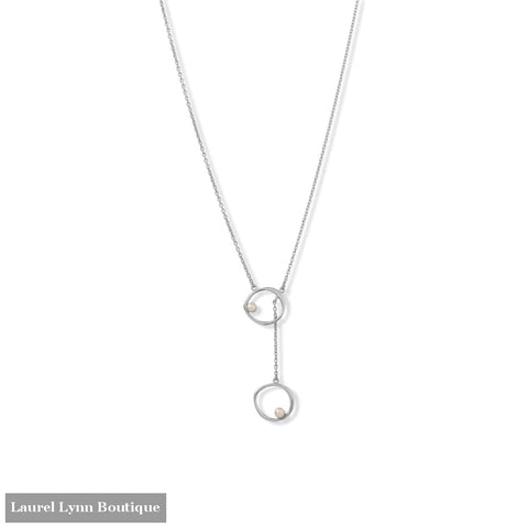 16 + 2 Rhodium Plated Open Circle and Pearl Drop Necklace - 34381 - Liliana Skye