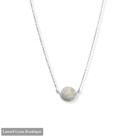 16 + 2 Rhodium Plated Round Shell Frame Necklace - 34382 - Liliana Skye