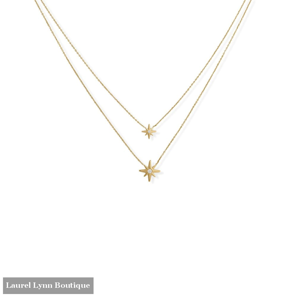 16/17+2 14 Karat Gold Plated Two Strand CZ Star Necklace - 34368-16 - Liliana Skye