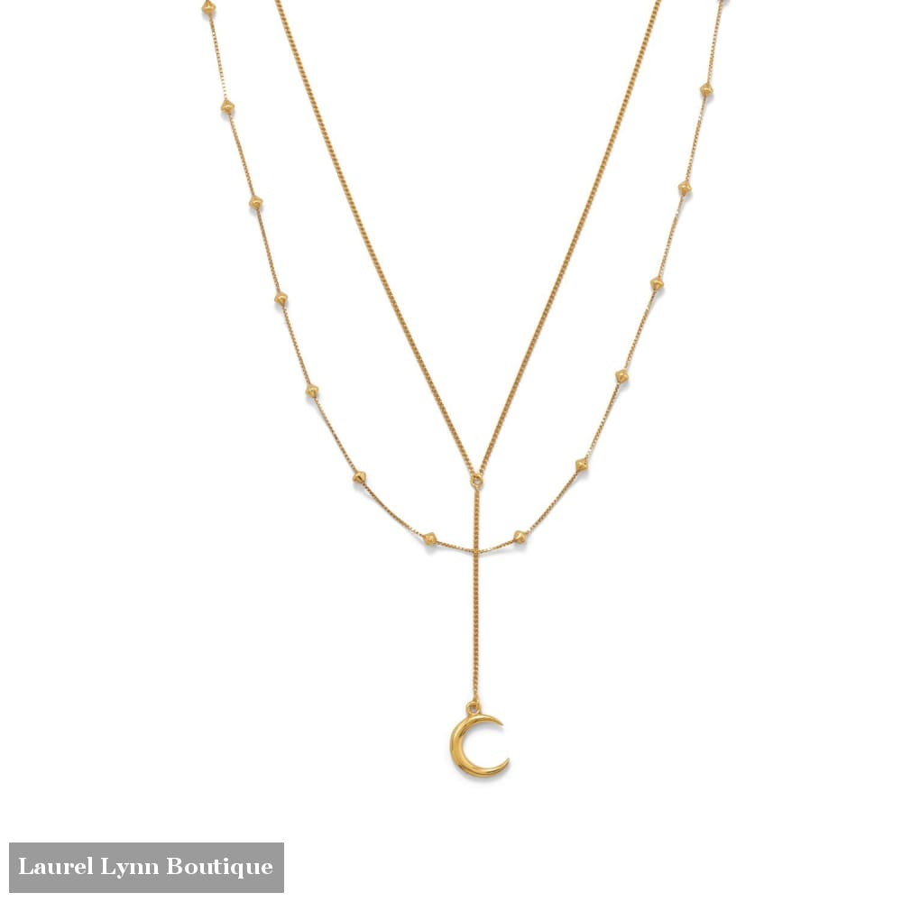 16+2 14 Karat Gold Plated Double Strand Moon Necklace - 34287 - Liliana Skye