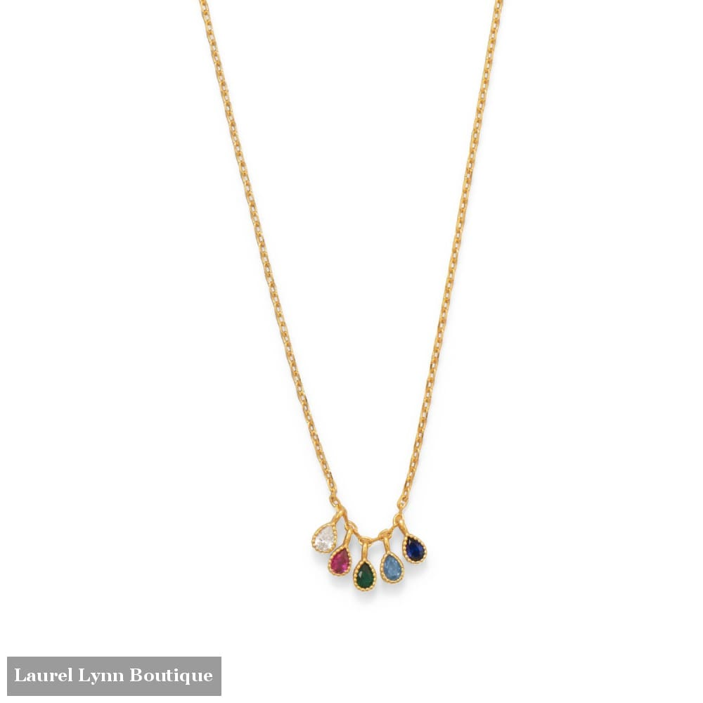 16+2 14 Karat Gold Plated Multi Color CZ Necklace - 34297 - Liliana Skye