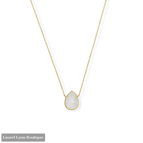 16+2 14 Karat Gold Plated Pear Rainbow Moonstone Necklace - 34353 - Liliana Skye
