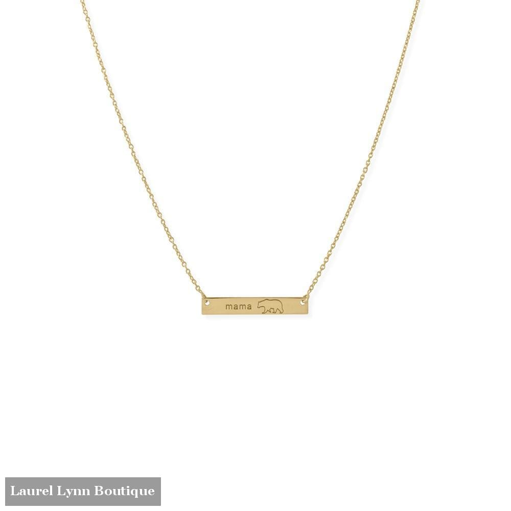 16+2 14 Karat Gold Plated Sterling Silver Mama Bear Bar Necklace - 34330 - Liliana Skye