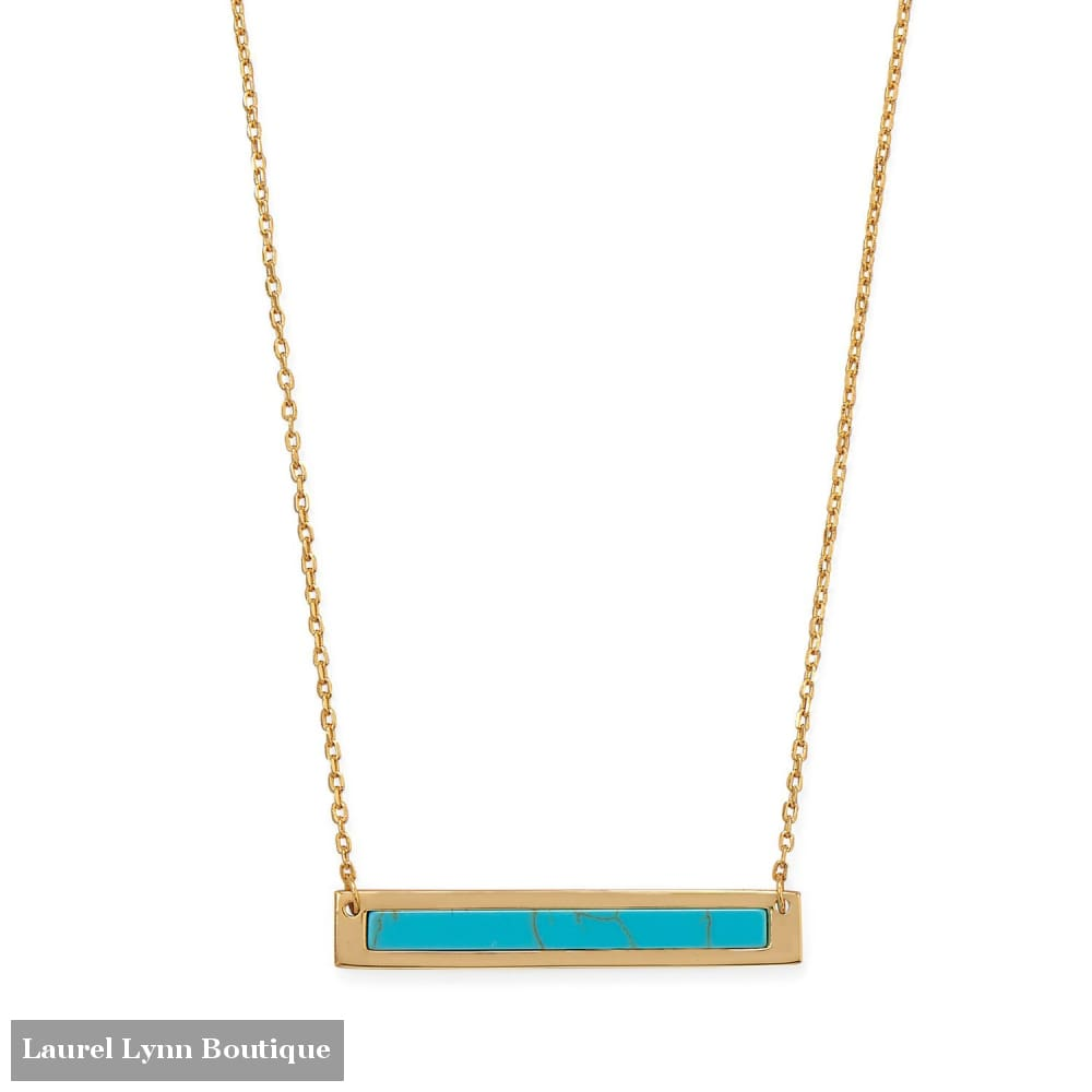 16+2 14 Karat Gold Plated Turquoise Bar Necklace - 34296 - Liliana Skye