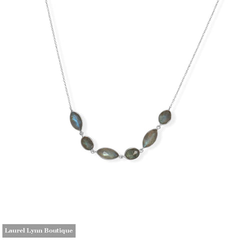 16+2 Rhodium Plated Multi-Shape Labradorite Necklace - 34352 - Liliana Skye