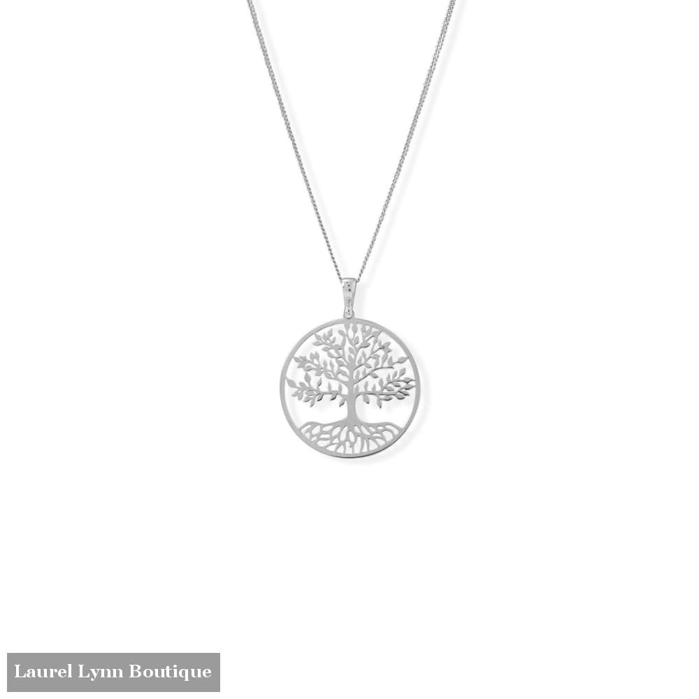 16+2 Rhodium Plated Tree of Life Necklace - 34354 - Liliana Skye