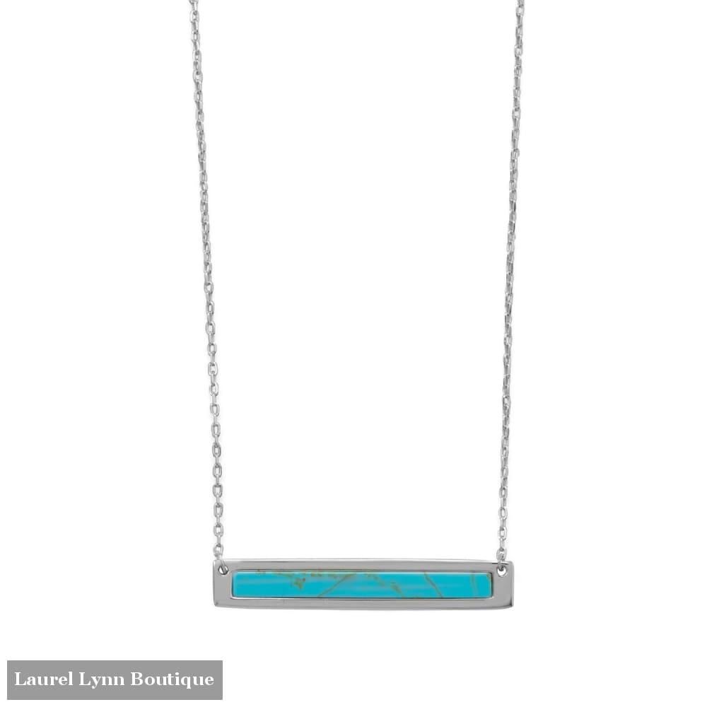 16+2 Rhodium Plated Turquoise Bar Necklace - 34295 - Liliana Skye