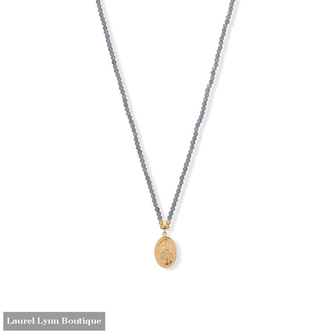 17 + 2 14 Karat Gold Plated Charm and Labradorite Necklace - 34388 - Liliana Skye