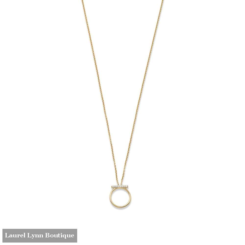 18 Karat Gold Plated Cz Bar And Circle Necklace - Liliana Skye - Blairs Jewelry & Gifts