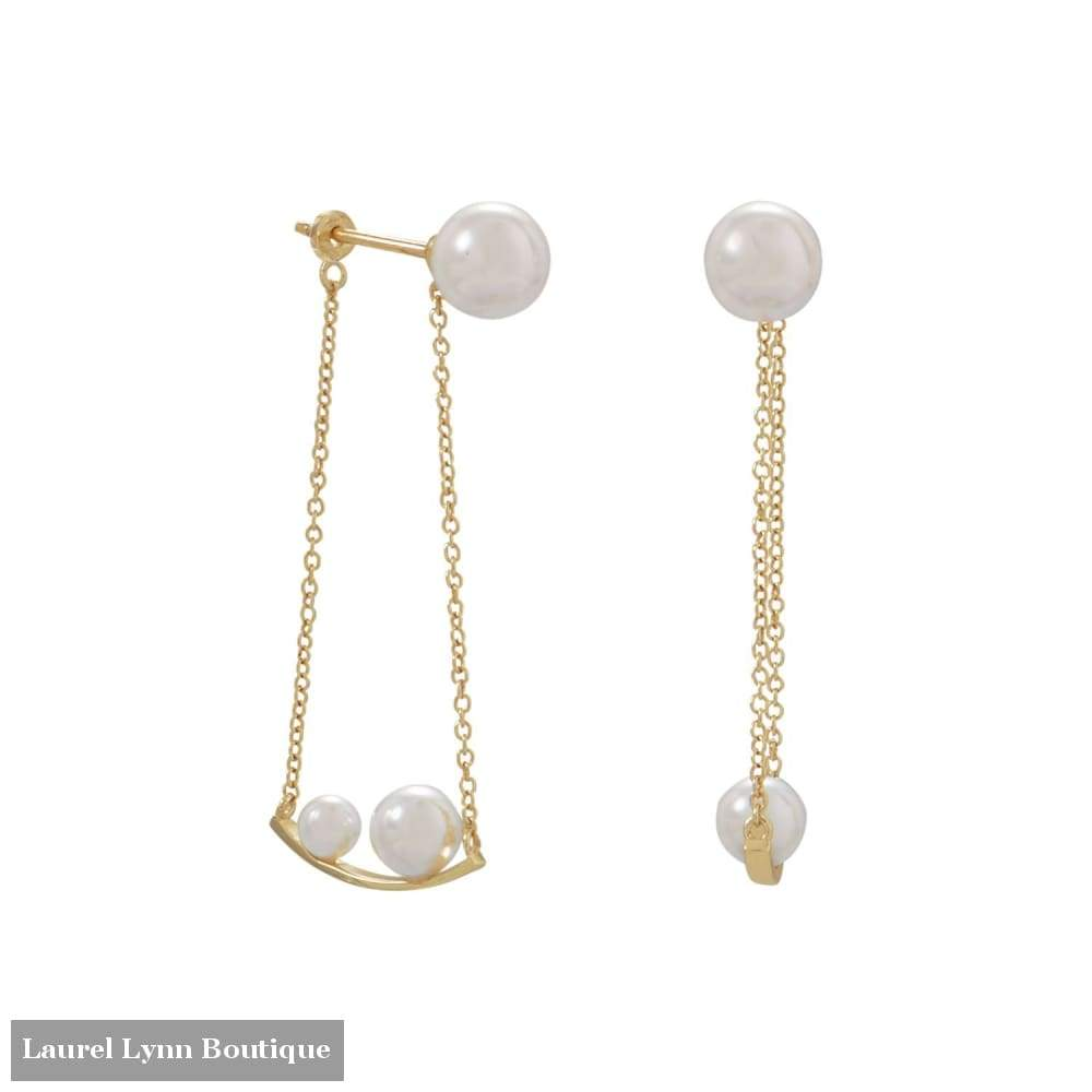 18 Karat Gold Plated Imitation Pearl Front Back Swing Earrings - Liliana Skye - Blairs Jewelry & Gifts