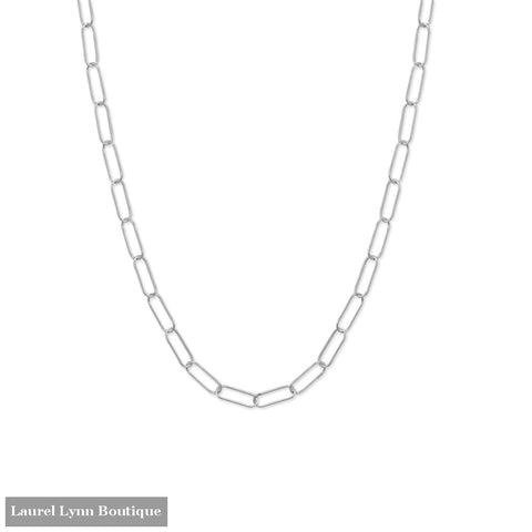 18 Rhodium Plated Paperclip Necklace - 34380 - Liliana Skye