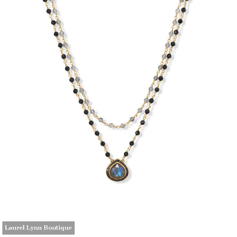 19/20 + 2 14 Karat Gold Plated Labradorite and Black Onyx Necklace - 34384 - Liliana Skye