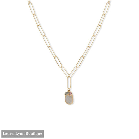 21 14 Karat Gold Plated Charm Drop Necklace - 34385 - Liliana Skye
