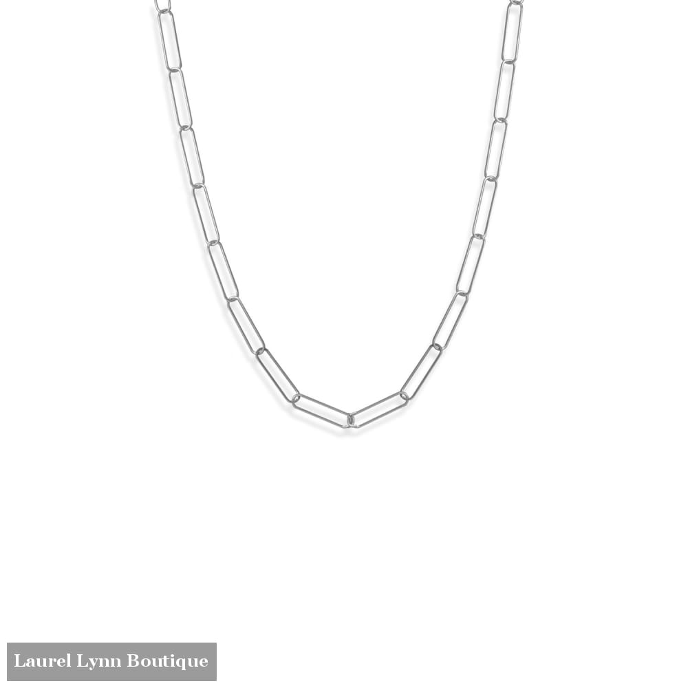 21 Rhodium Plated Paperclip Chain Necklace - 34357 - Liliana Skye