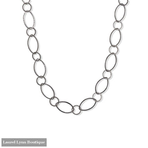 24 Gun Metal Plated Hammered Link Necklace - LE1304 - Liliana Skye