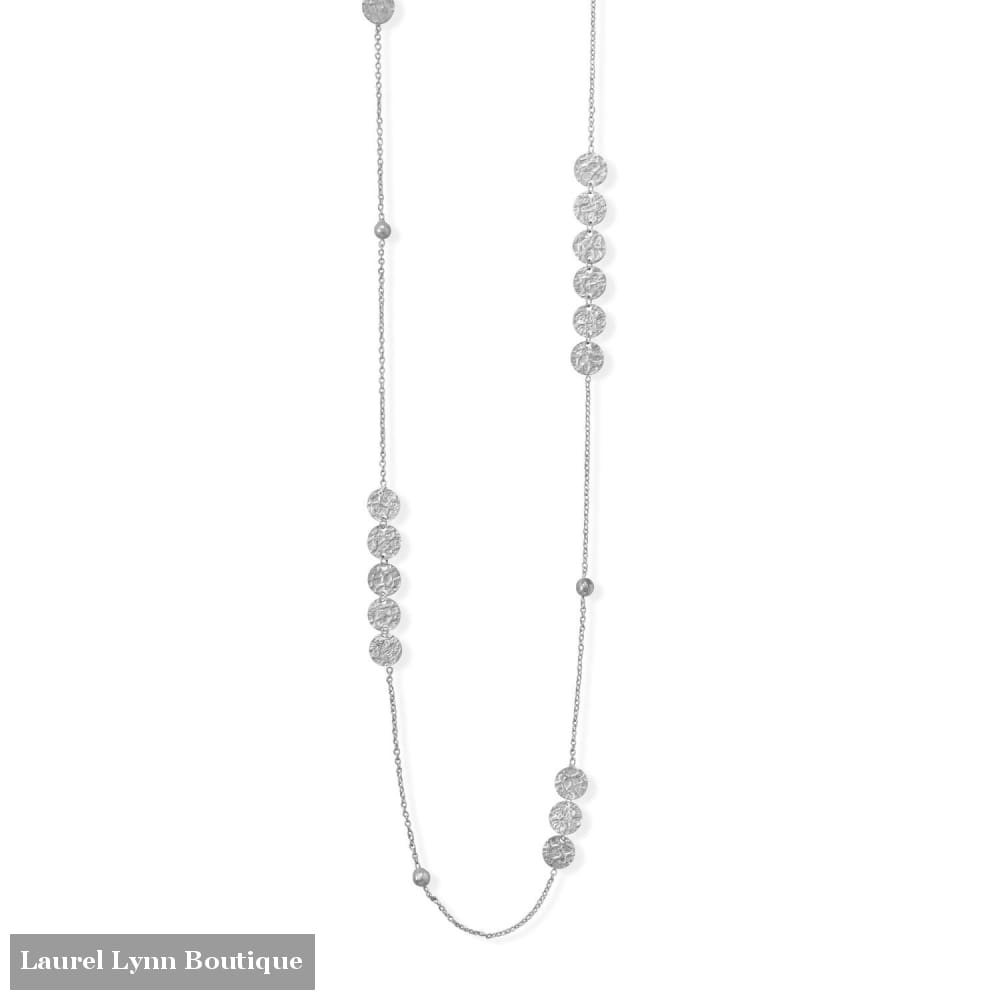 36 Rhodium Plated Disks and Bead Chain Necklace - 34327 - Liliana Skye