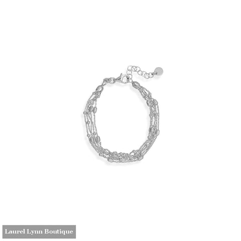 6.5 + 1 Rhodium Plated Five Strand Satellite Chain Bracelet - 23610 - Liliana Skye
